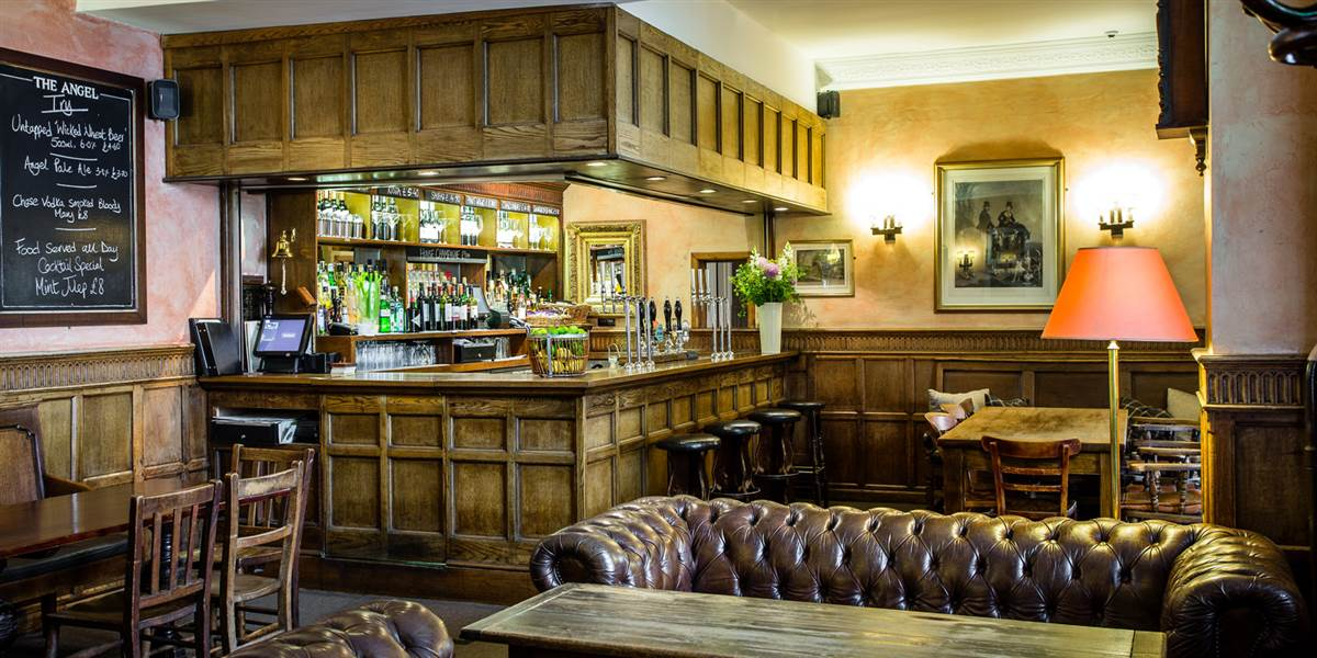 The lounge bar at The Angel Hotel Accommodation in Abergavenny